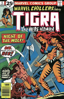 Cover of Marvel Chillers #6 featuring Tigra the Were-Woman art by Richard F. Buckler and Mike Esposito