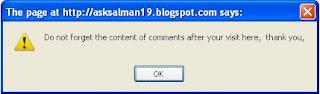 Cara Memasang Text Skrip Alert Saat Masuk ke Blog