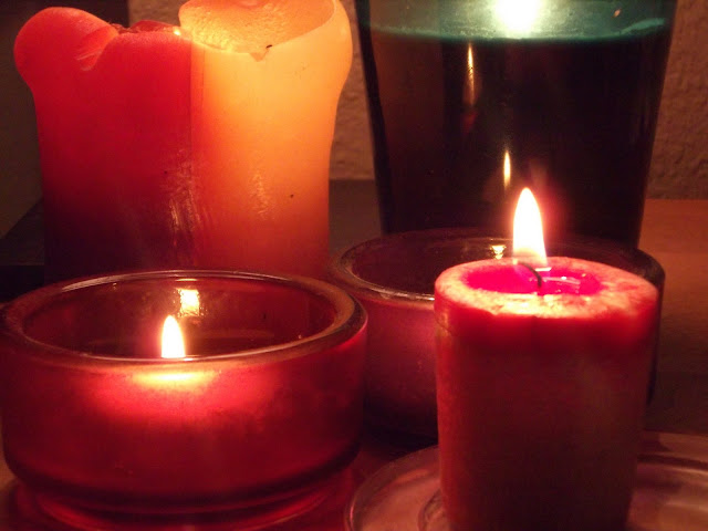 dimly lit candles