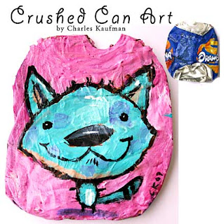 crushed can art,kaufman,painting,upcycle,recycle