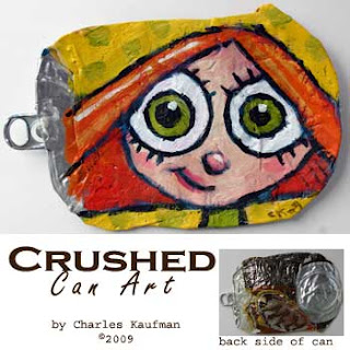 crushed can art,charles kaufman,painting,girl,red hair