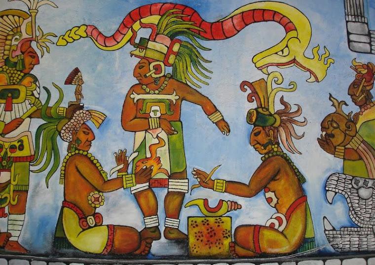 Pintura Maia em Chichen Itza - México