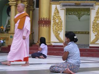 Devotees at Shwedagon Pagoda, Yangon