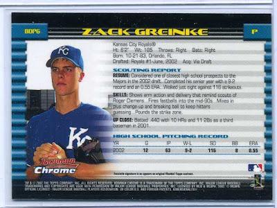 2002 Bowman Chrome Zack Greinke Rookie Back