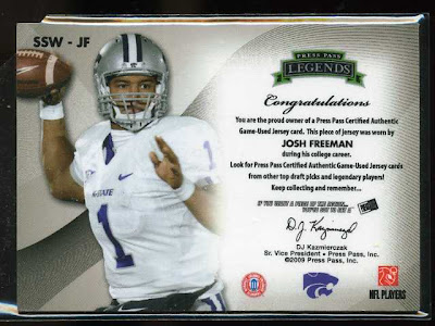 2009 Press Pass Legends Saturday Swatches Josh Freeman Back