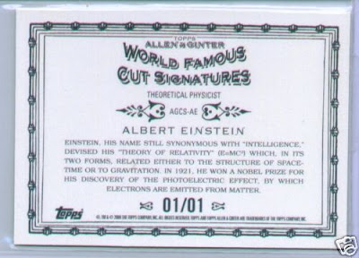 2009 Topps Allen and Ginter Albert Einstein Cut Signature Back