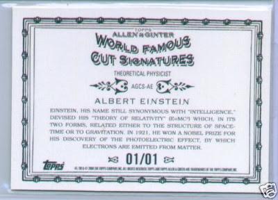 2009 Topps Allen and Ginter Albert Einstein Cut Signature Back