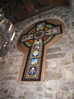 St. Hubert Chapel's Celtic Stained Glass Window Cross