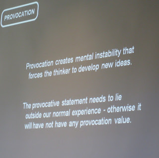 provocation creates mental instability that forces the thinker to develop new ideas
