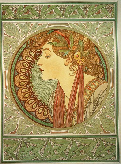 Alphonse Mucha Art Gallery: Alphonse Mucha art: Laurel.