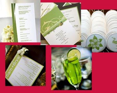 Boda en verde y blanco; decoración del banquete y cocktail