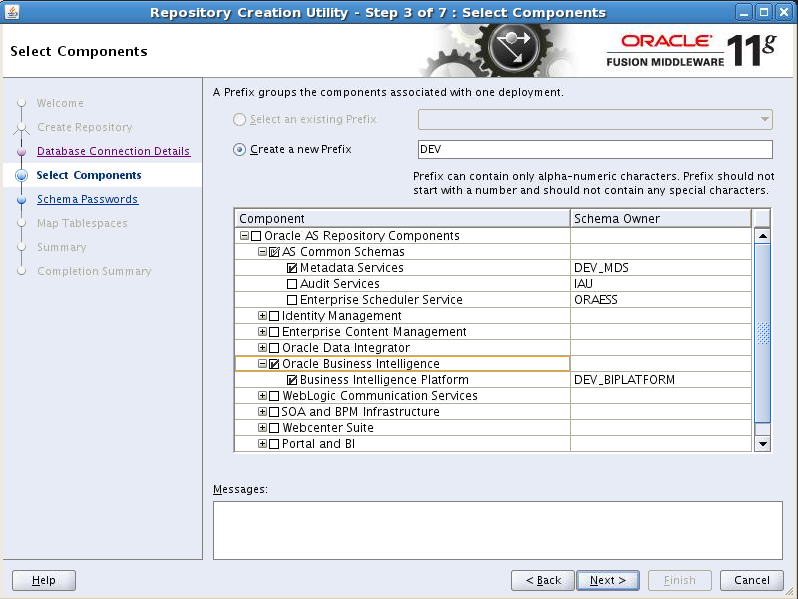 select schema in oracle