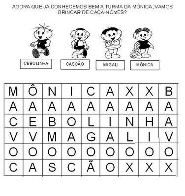 Atividades com os personagens da Turma da Mônica para crianças