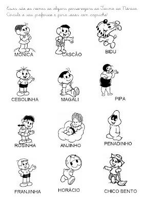 Atividades Atividades com os personagens da Turma da Mônica para crianças