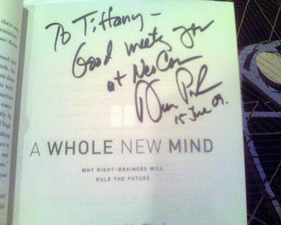 my copy of A Whole New Mind by Daniel Pink, signed by the author