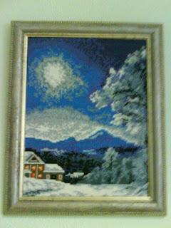 вышитый зимний пейзаж