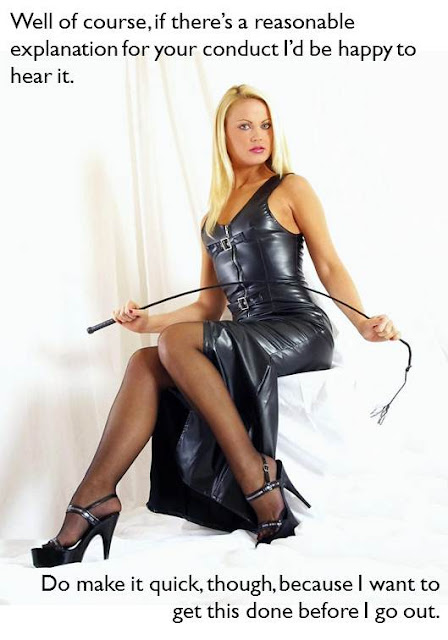 femdom caption blonde dominatrix with riding whip