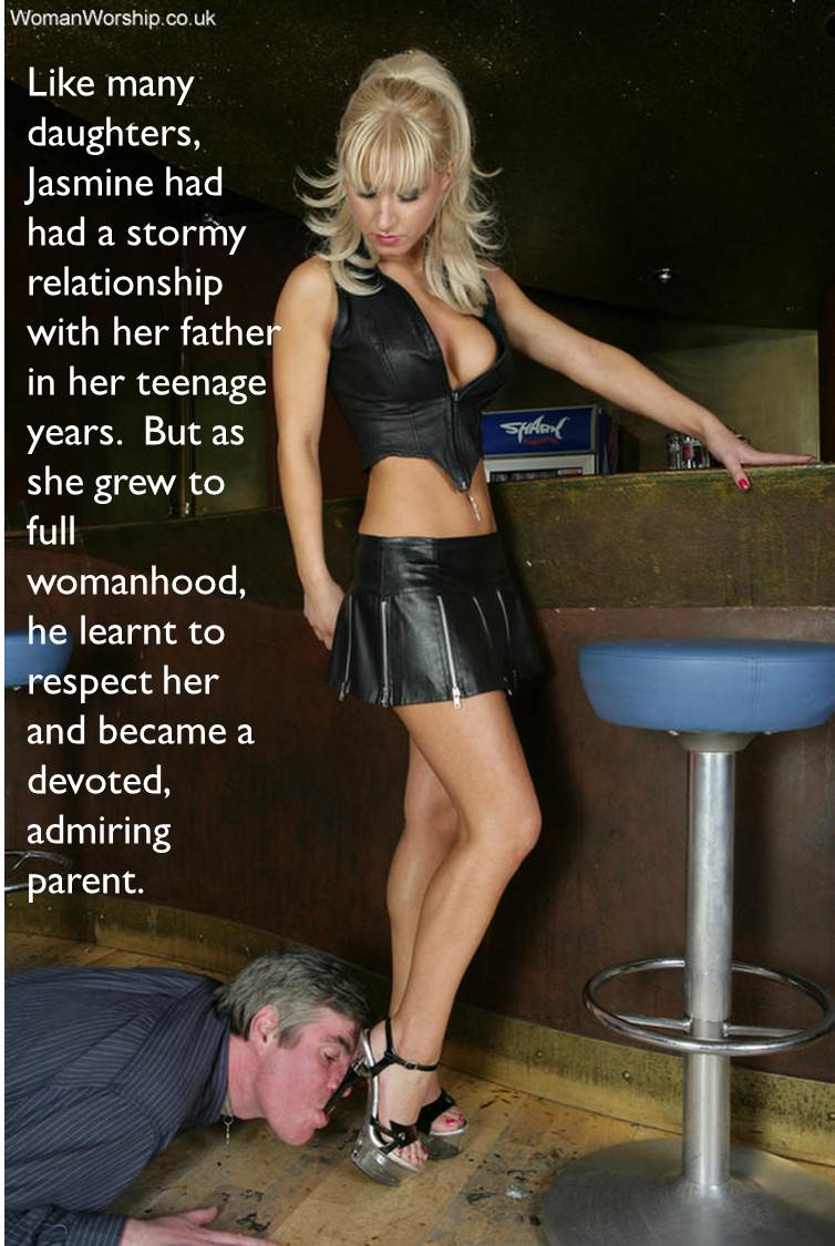 femdom caption father worshipping blonde daughters feet