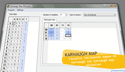 Karnaugh Map Minimizer programa para resolver mapas de Karnaugh