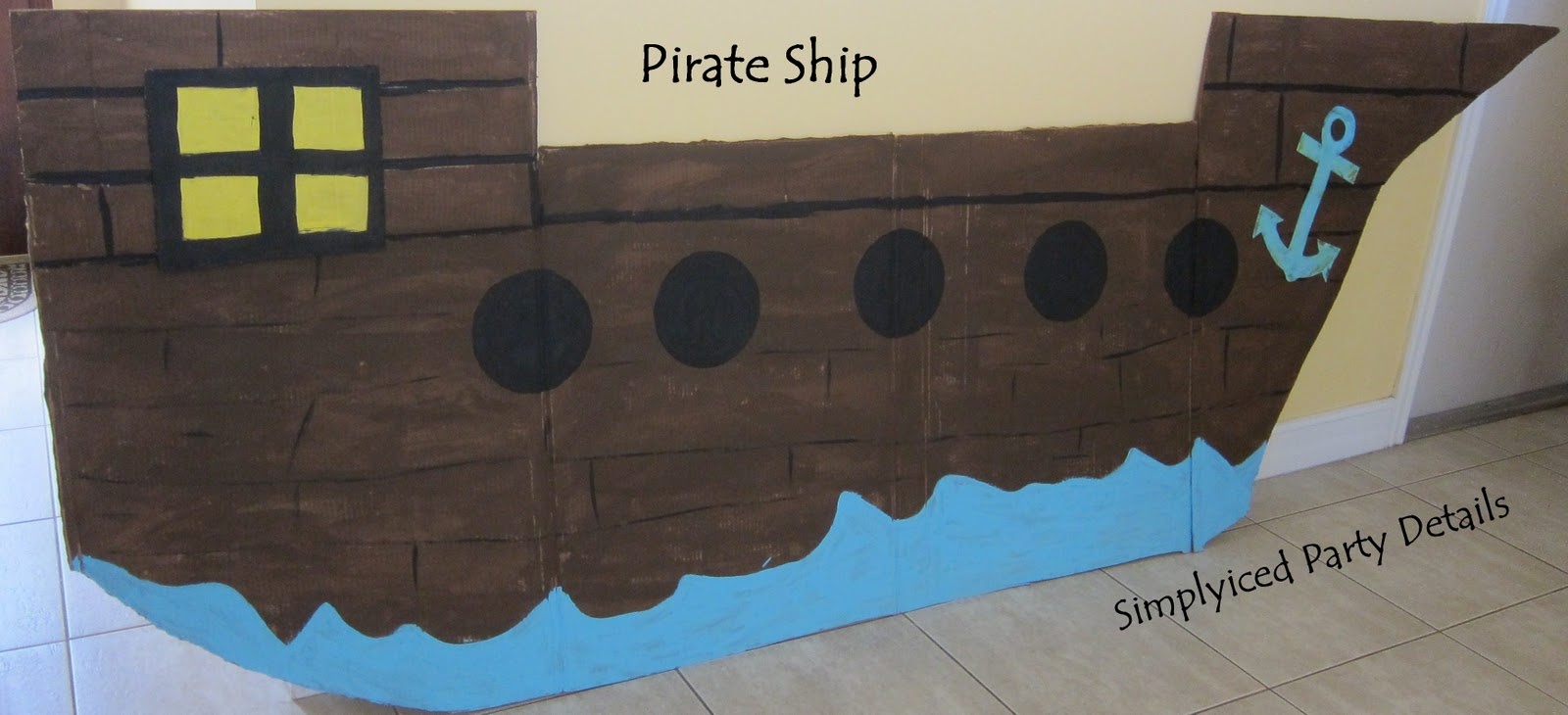 Simplyiced party details pirate party preparations for Cardboard pirate ship template