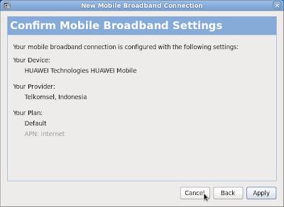 Mobile Broadband Telkomsel di Linux Fedora Core 13 dan Huawei E220 3G