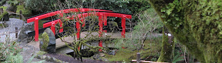 Detail of Red Bridge in Butchart Gardens, Victoria, British Columbia, Canada