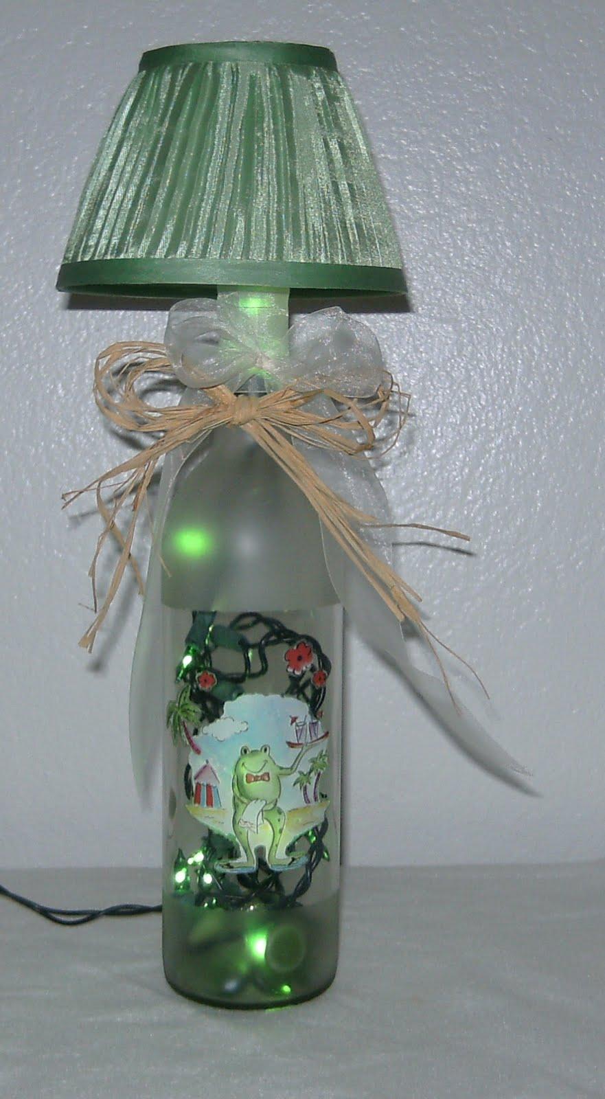 elegant wine bottles lighted wine bottles with lamp shades. Black Bedroom Furniture Sets. Home Design Ideas