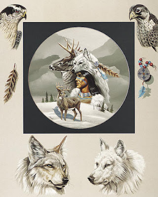 Indian+warrior+hawk+wolf