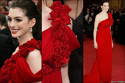 Anne Hathaway in Marchesa Red Gown