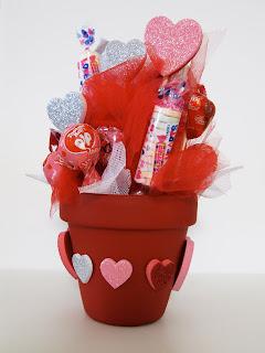 Valentines Day Candy Flower Pot