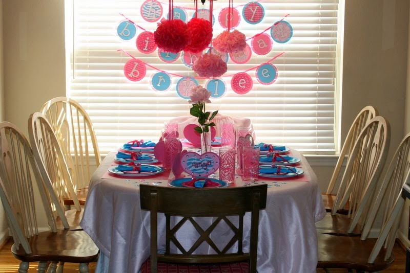 Shelly S Summary Pink And Turquoise Birthday Party Table