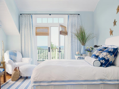 blue and white cape cod cottage bedroom