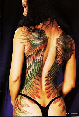Female Back Piece Wings Tattoos Picture 4