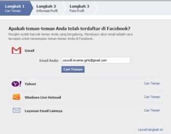 Cara mencari teman di facebook (FB) saat daftar