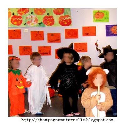 carnaval d'automne, déguisements d'halloween et défilé à l'école