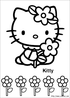 hello-kitty-coloriage-enfant-fleur-printemps