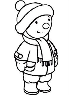 Tchoupi en hiver: coloriage enfant