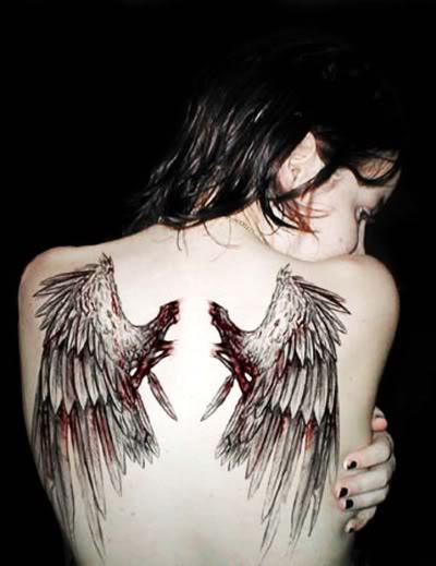 Fallen Angel Wings Tattoo