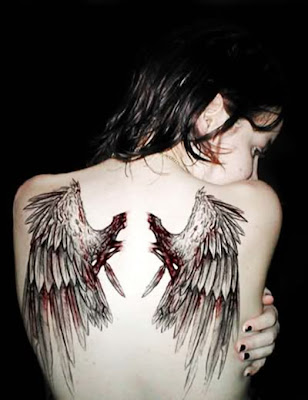 The wings on the back are often tattooed in most cases across the back,