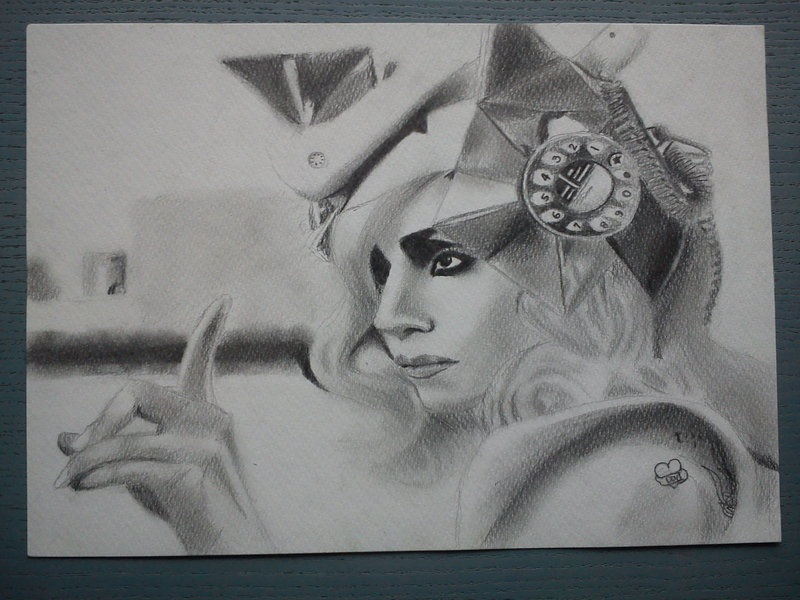 Lady Gaga Telephone Hat. Lady Gaga Traditional Art #26