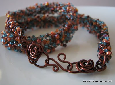crochet wire, seed beads, copper
