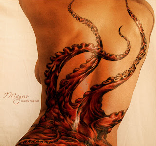 Japanese Octopus Tattoo Design on Back Girl