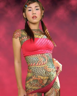 Japanese Tattoo Design on Full Body Girl