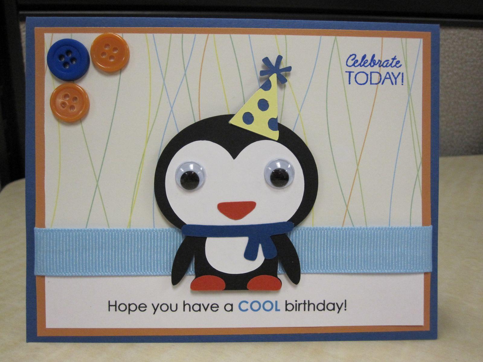 adorable annagrams penguin birthday card, Birthday card
