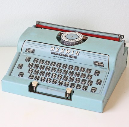 This fun typewriter for the wedding Mint Julep cups enough said