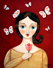 Girl with Tulip and Butterflies