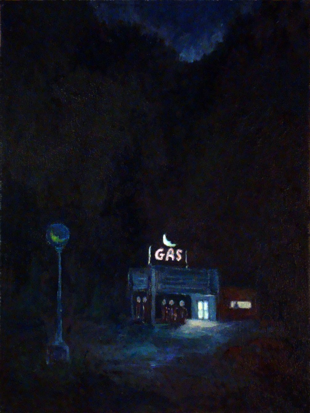 Night Wood Gas Station Summer 2010 Oil 12 X 9 Inches