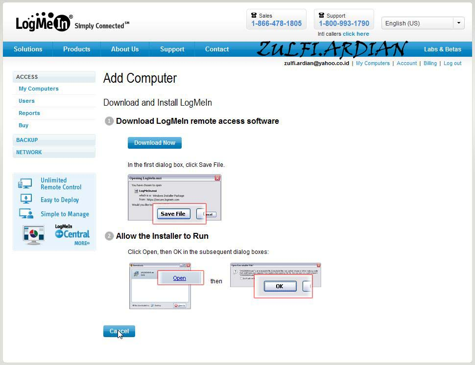 how to add a computer to logmein account