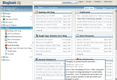 Bloglines Quick view