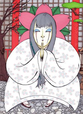 sakura temple shrine yukata Japanese girl